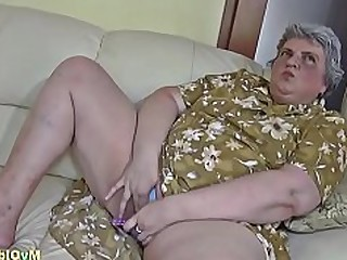 Dildo BBW Granny Lesbian Mature Old and Young Playing Teen