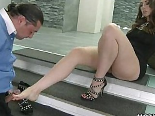 Brunette BBW Feet Fetish Foot Fetish Footjob High Heels Licking
