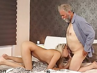 18-21 Blonde Blowjob Daddy Fingering HD Licking Lingerie