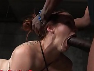 BDSM Close Up Deepthroat Fuck High Heels Interracial Oral Redhead