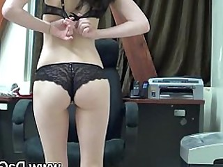 Brunette Girlfriend Horny Masturbation Office Really Solo Striptease