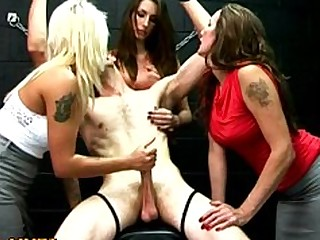 Foursome Group Sex Handjob Jerking Mature MILF Party Slave