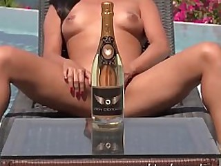 Brunette Foot Fetish Hot Juicy Oil Pool Pussy Toys